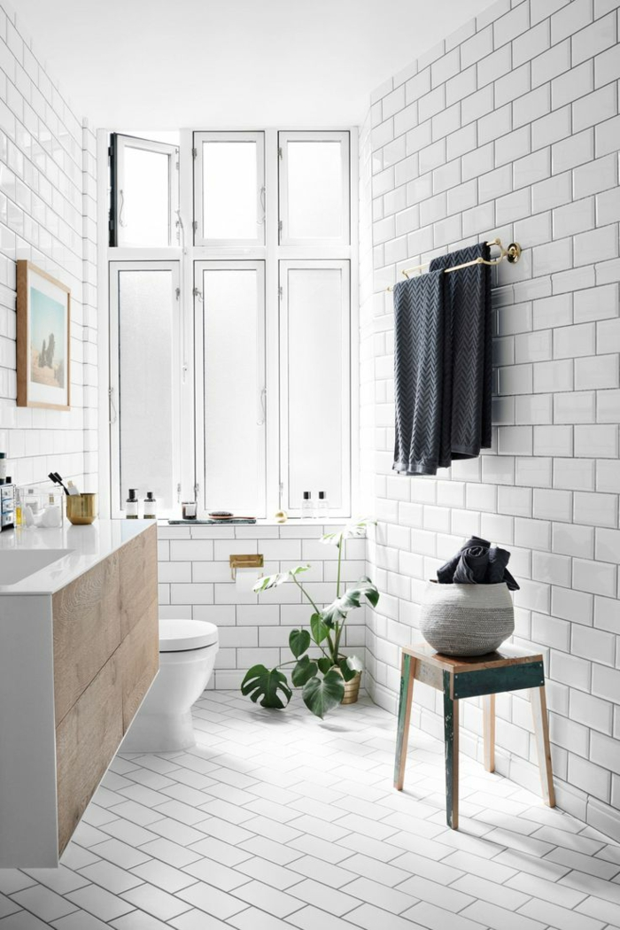 1001 ideas de decoraci n de ba os blancos modernos for Banos blancos y verdes
