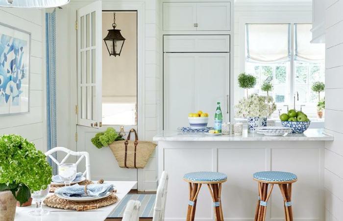 cocina moderna en colores azul y blanco, estilo americano para pequeñas cocinas, cocinas con peninsula