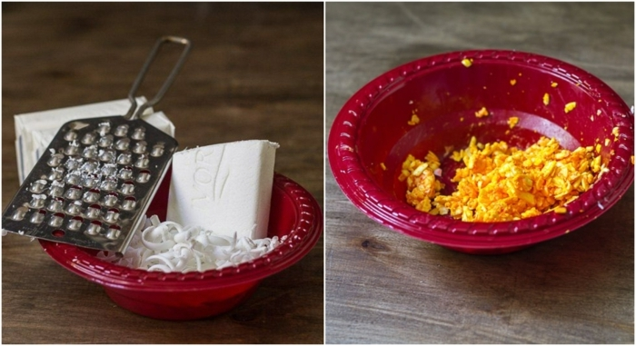 pasos sobre cómo hacer jabón casero original, bolas de jabon coloridas paso a paso, manualidades para regalar