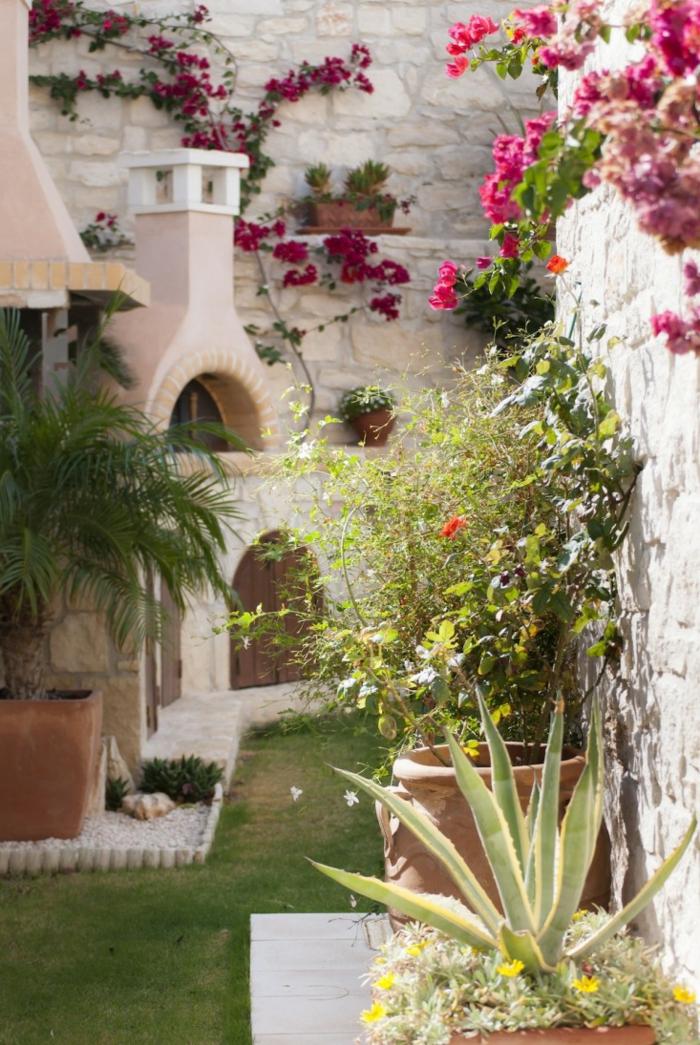 decoracion de jardines mediterráneos con paredes decoradas de plantas enredaderas