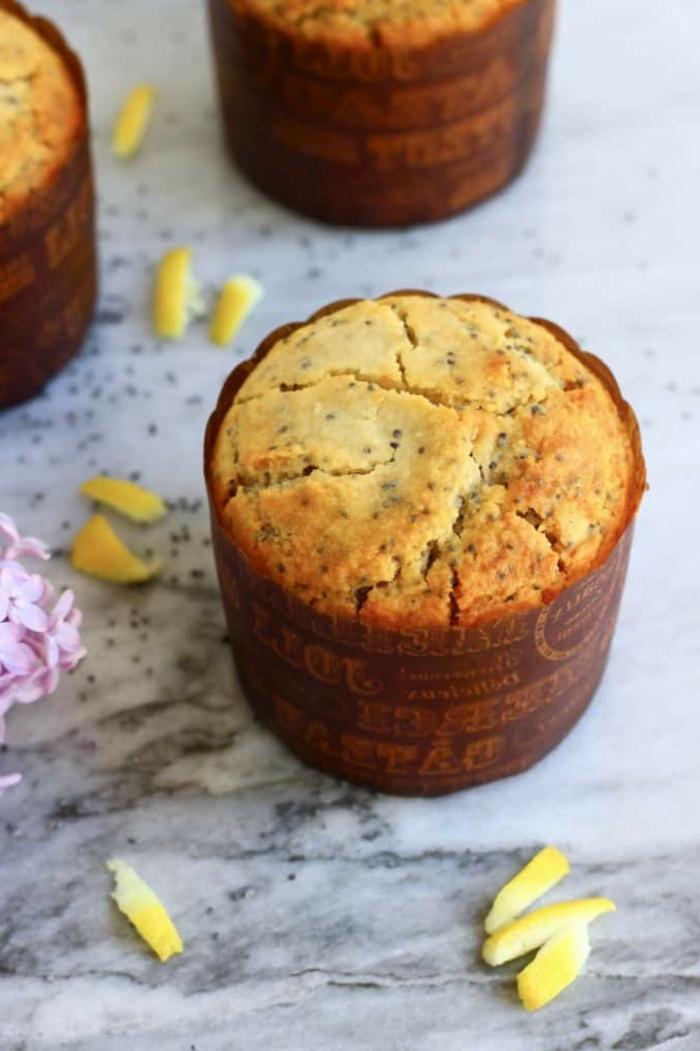 ideas de postres y desayunos fitness, muffins de harina integral con semillas de chia y limón