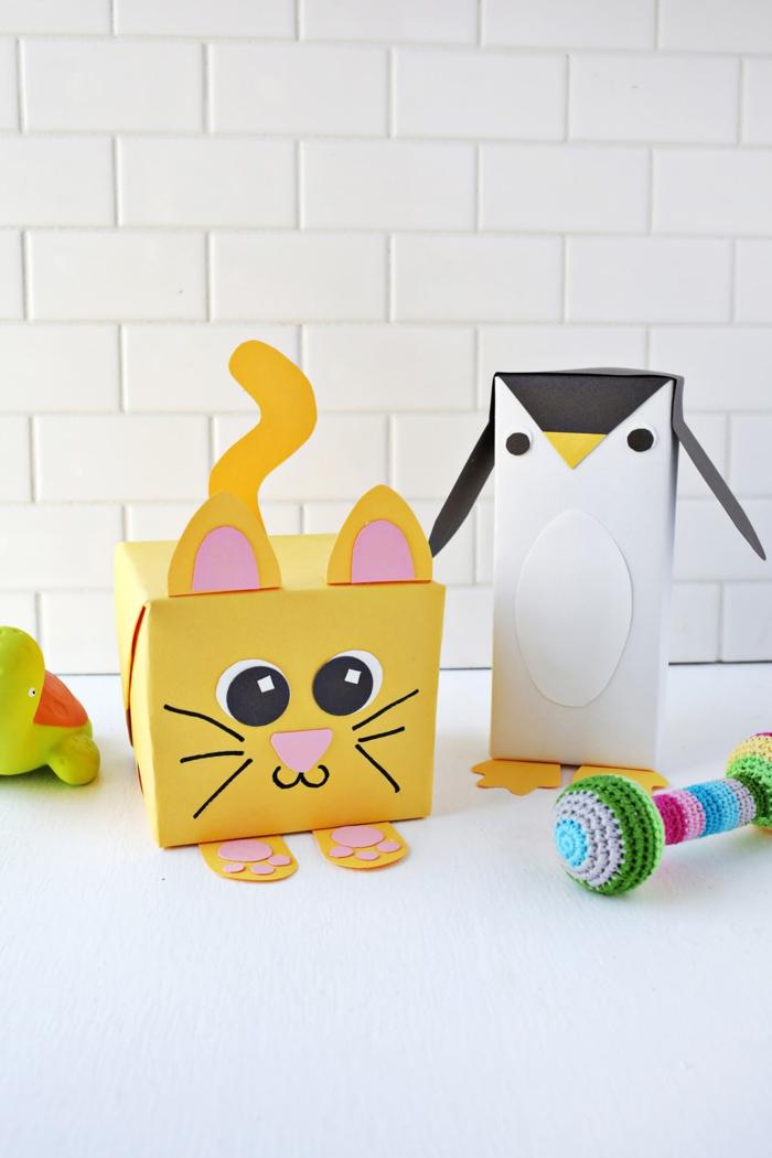 manualidades con reciclaje faciles y originales, embalaje DIY en forma de animales paso a paso