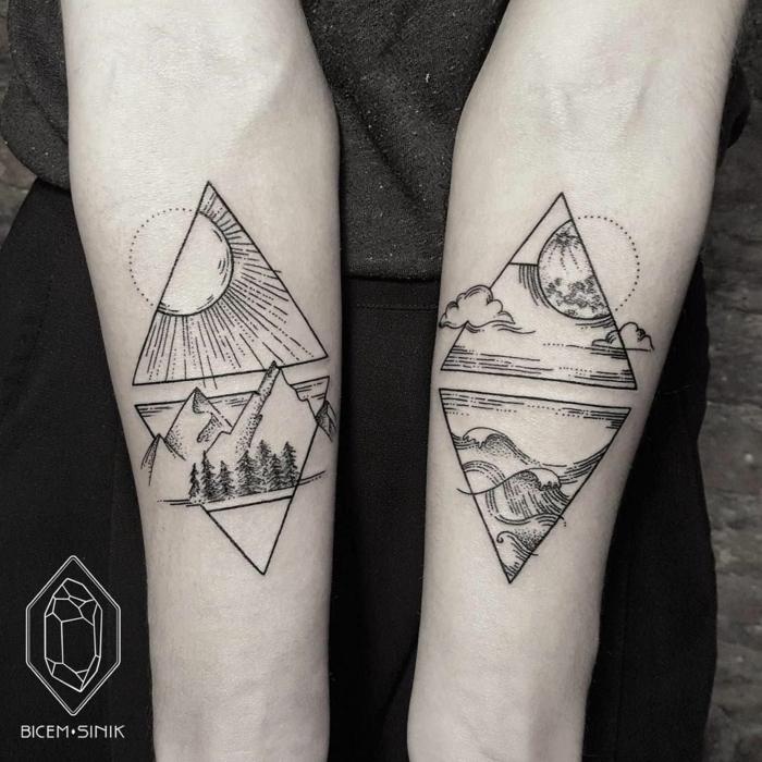 ideas alucinantes de tatuajes triangulo, cuatro triángulos que representan la naturaleza