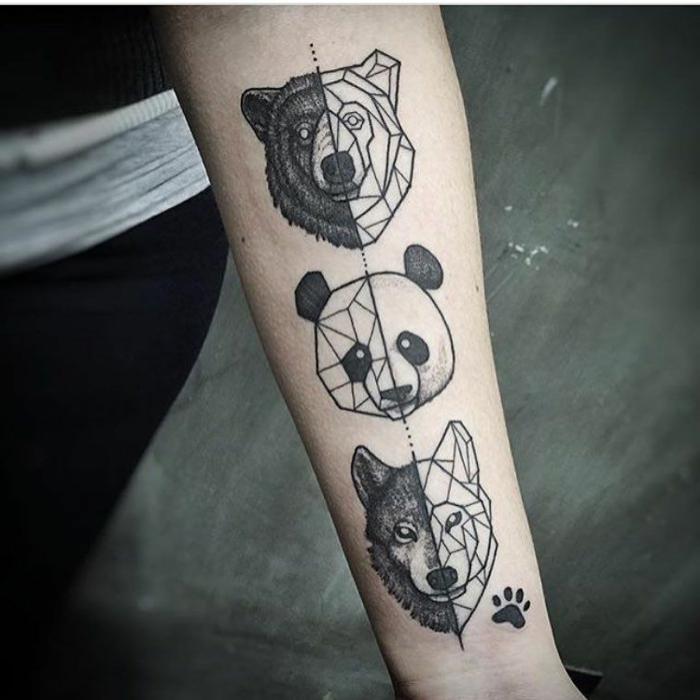 tatuajes de triangulos y otras formas geométricas, tres cabezas de animales, oso, panda, lobo