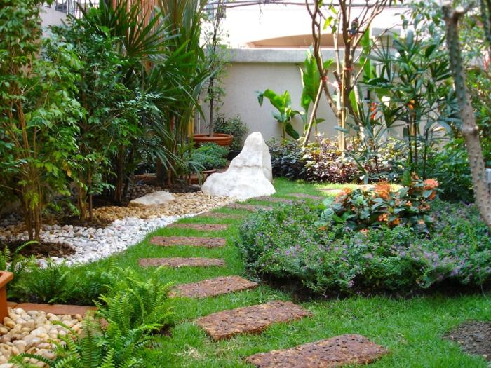 jardines modernos con senderos, últimas ideas en el paisajismo 2018, ideas con canto rodado