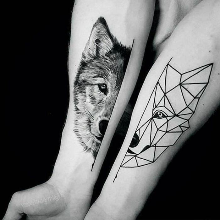 tatuajes de triangulos originales, tatuajes en los antebrazos, cabeza de lobo en dos partes