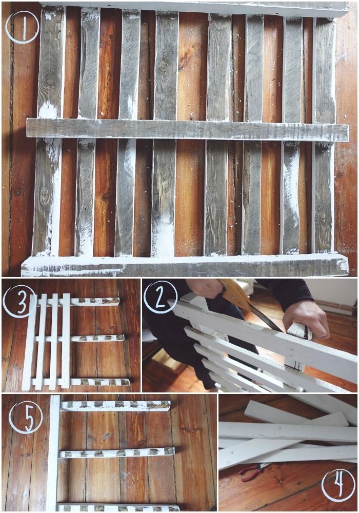 cinco primeros pasos para hacer tu mesa de palets en casa, ideal para el sofá o para el jardín, listones