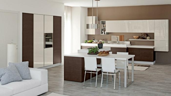 cocinas con barra,cocina en blanco y marroncon armarios en la pared y horno en el armario puesto