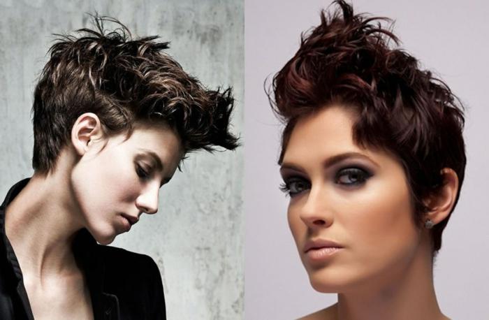 como cortar el pelo a una mujer, peinado con rizos y al estilo pixie, ultima tendencia en la moda del año 2018