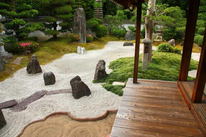 jardines rusticos decorados con piedras y gravilla, hermoso diseño de un jardín pequeño en estilo zen