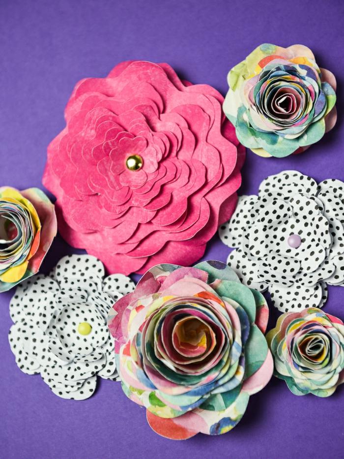 bonitas manualidades con cartulina, flores tridimensionales con cartulina colorida paso a paso