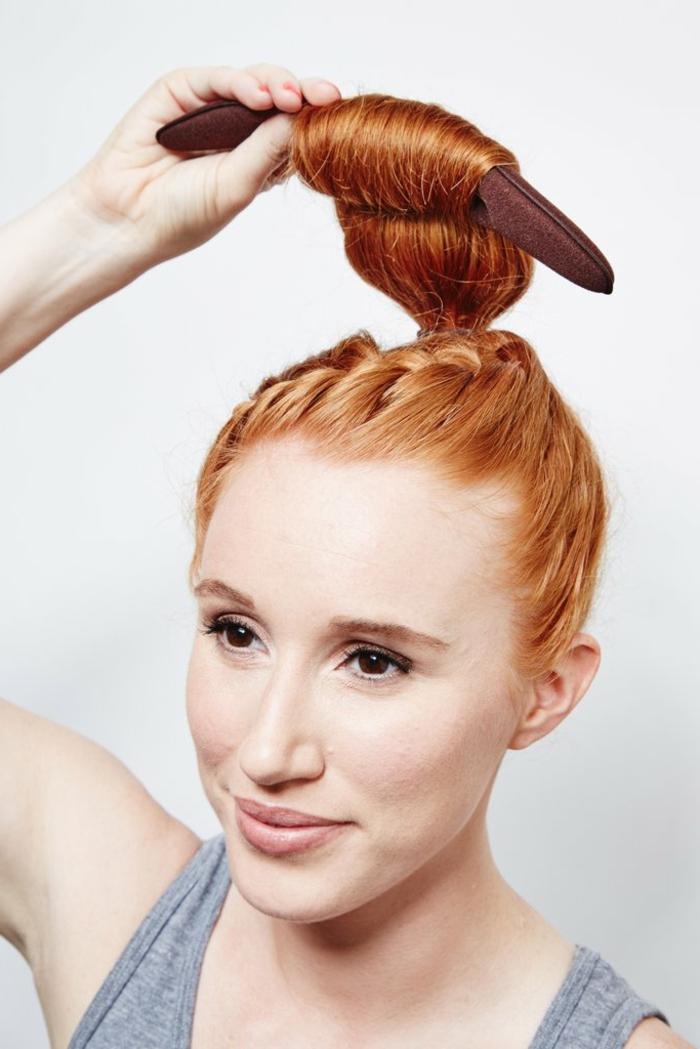 peinados con trenzas y moños, accesorio para hacer moños de manera fácil y rápida, moño pelo largo