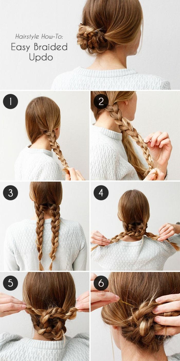 peinados bonitos y fáciles con las instrucciones paso a paso, cómo hacer un moño casual de dos trenzas