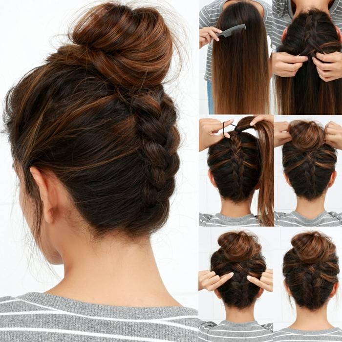 pasos para hacer peinados con trenzas invertidas, precioso recogido con trenza holandesa invertida