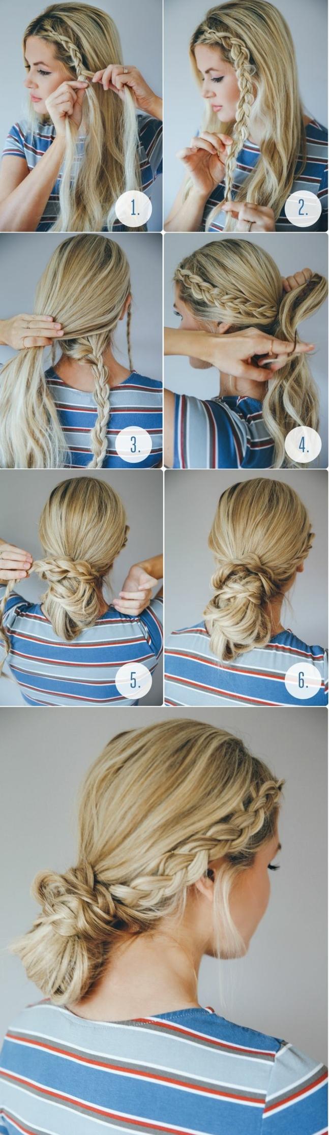 pasos para hacer un bonito moño bajo con trenzas con flequillo, tutoriales de peinados elegantes y fáciles