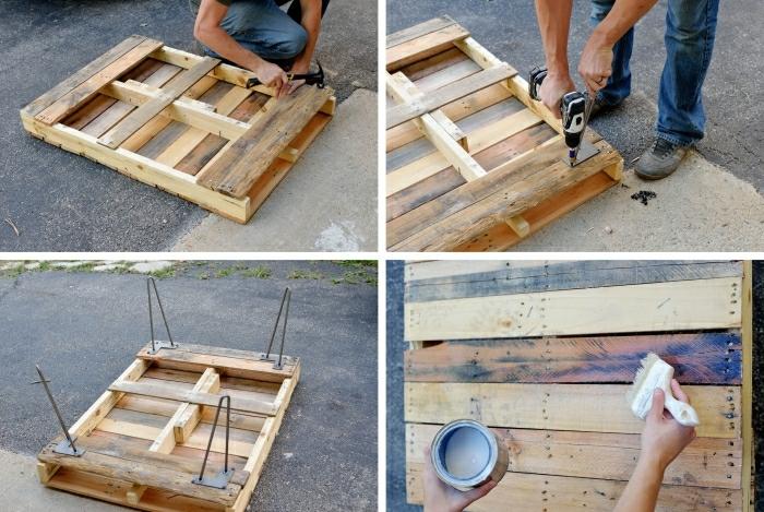 como hacer una mesa de palets, los pasos para finalizar vuestra mesa, pintándola y poniendole patas de metal