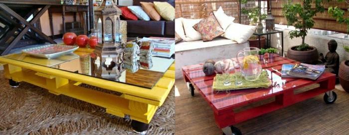 dos ideas de mesas de palets pintadas de diferentes colores, amarillo y rojo, como hacer una mesa