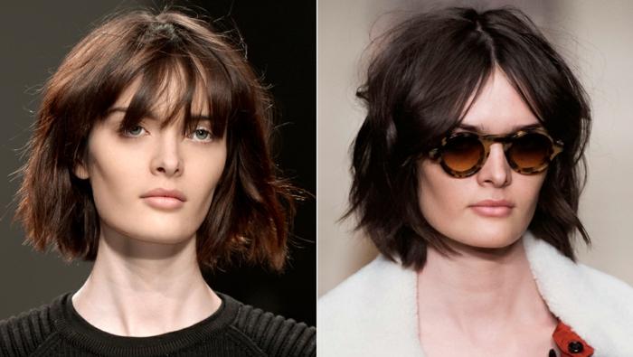 cortes de pelo actuales de mujer, diferentes formas de llevar la melena midi con flequillo desafilado y despeinado