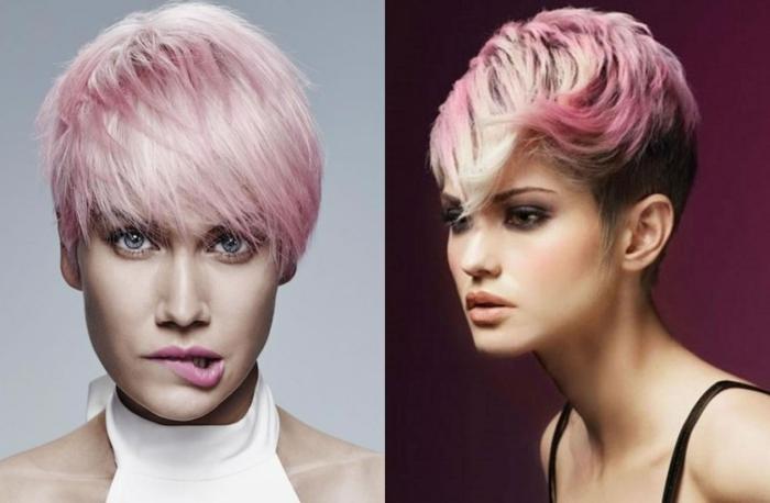 cortes de pelo chica, modelo con peinado al estilo bob con mechas rosa clarito y flequillo peinado de diferentes maneras