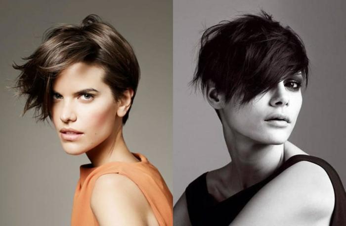 cortes de pelo chica, modelo con peinado el estido bob con flequillo liso, hacia un lado, diferentes ideas de como hacer el peinado