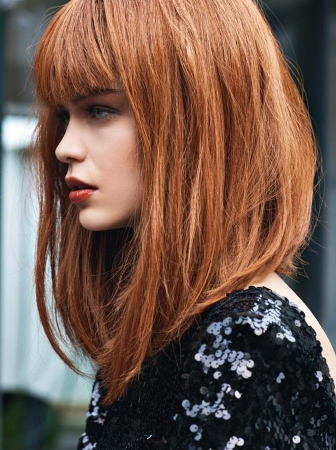últimas tendencias en corte pelo media melena, corte de pelo bobo largo con flequillo, pelo liso color pelirrojo