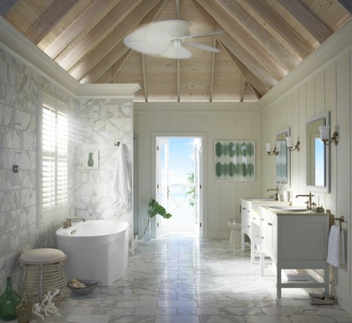 precioso baño abuhardillado con baldosas en blanco y gris, cuartos de baño modernos ideas de decoración