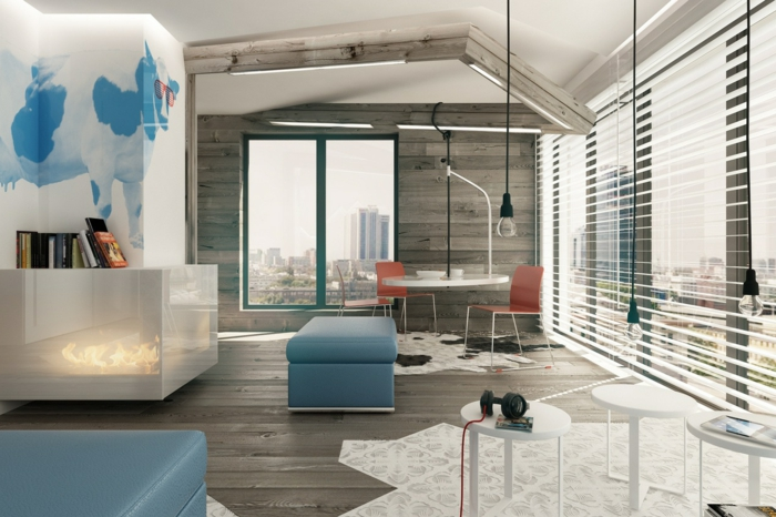 decoracion salon pequeño, imagenes de salones modernos, mesa redonda blanca y bombillas colgantes