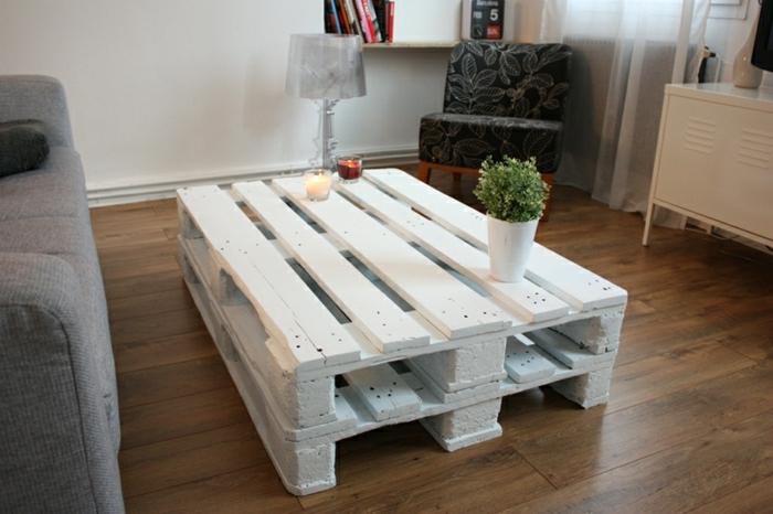 decoracion con palets, para hacer tu mesa de ensueño son ideales, esta está pintada en blanco