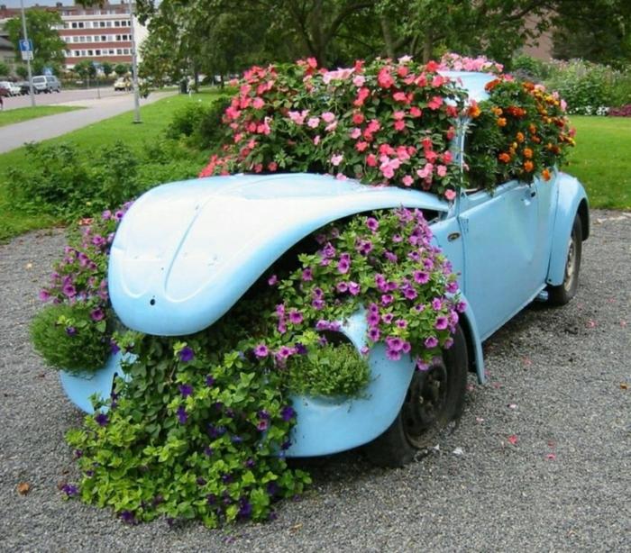 diseño jardines, coche viejos en azul claro utilizado para decorar el jardin con flores plantadas dentro