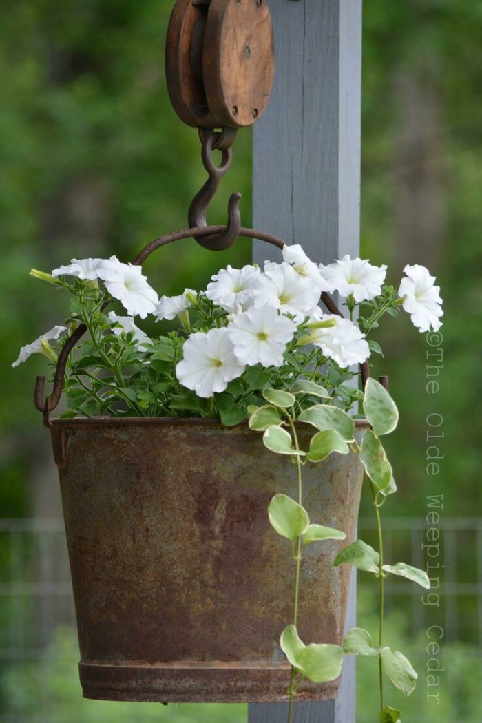 jardines modernos, decoración con cubo viejo metálico oxidado con flores blancas plantadas