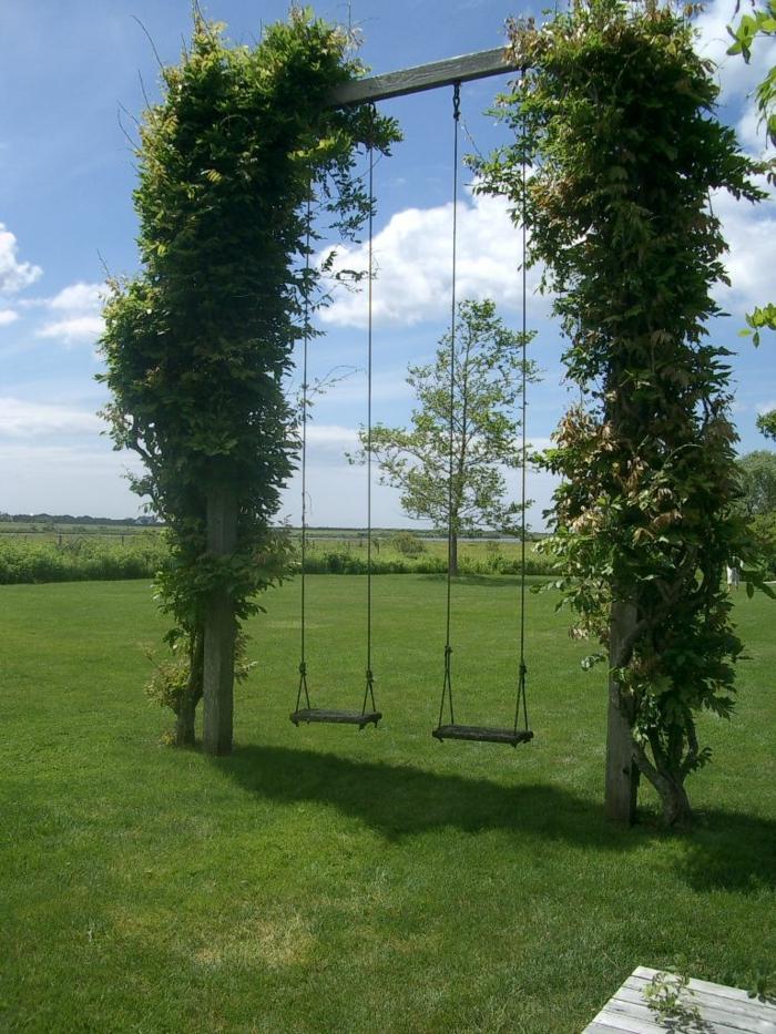 jardines rústicos, dos columpios en un marco de madera con dos árboles en los dos lados del césped
