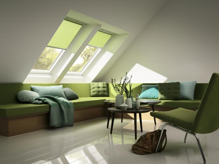 decoracion de pisos pequeños con sofa en verde oliva en las dos paredes