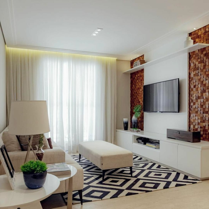 sofas pequeños con alfombra en blanco y negro con figuras geometricas, televisor en la pared