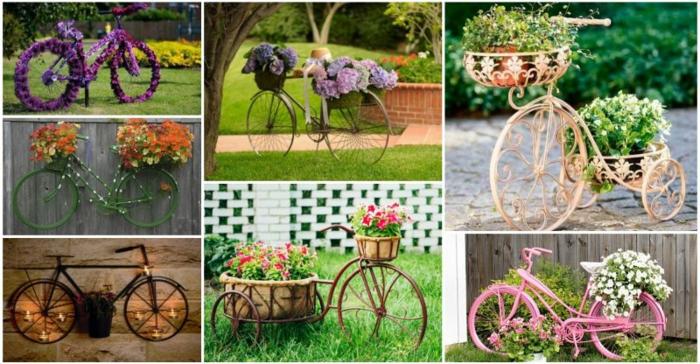 ideas para decorar jardines, diferentes formas de usar nuestrra vieja bicicleta para decorar el jardín