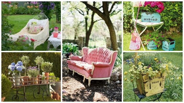 ideas para jardines, diferentes formas de decorar nuestro jardín con hamaca, sofá vintage
