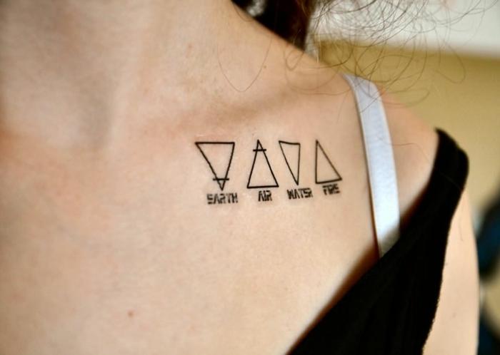ideas de tatuajes geométricos con enorme significado, los cuatro elementos esenciales, tatuajes pequeños mujer