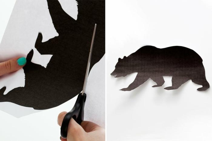 manualidades originales y faciles con papel, dibujo de oso plantilla, decoracion bonita paso a paso
