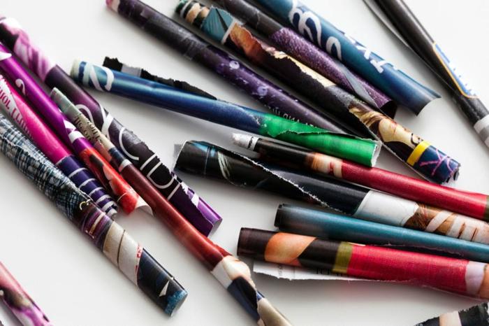 tubos de papel de revistas para hacer dibujos decorativos, manualidades originales paso a paso