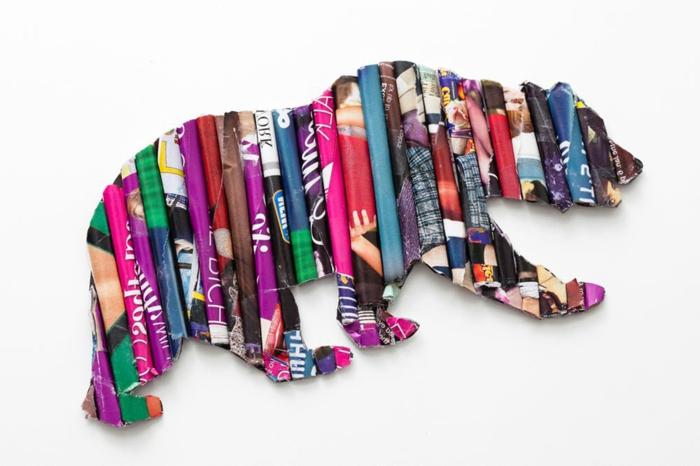 manualidades con cartulina y papel, oso decorativo hecho con tubos de papel reciclada, decoracion tridimensional