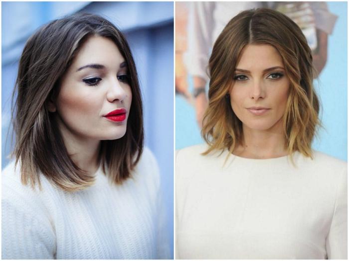 dos propuestas de peinados con ondas media melena, cabello color rubio oscuro con mechas