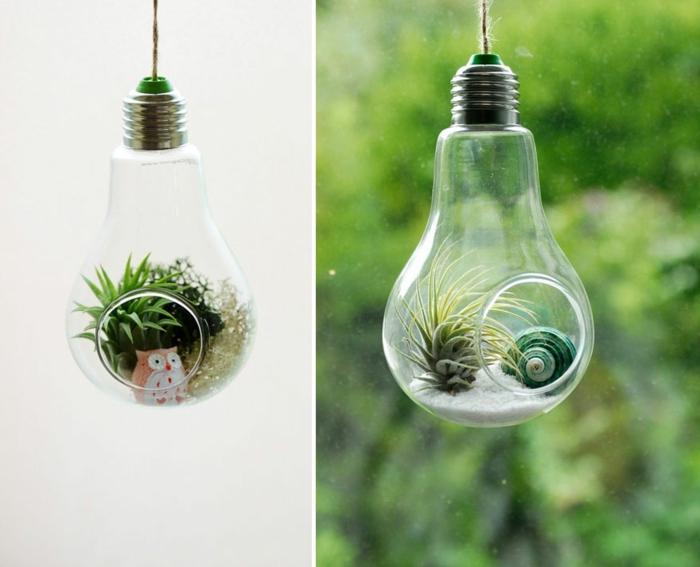 ideas originales manualidades decoracion, mini terarios con bombillas recicladas, bonitas ideas DIY