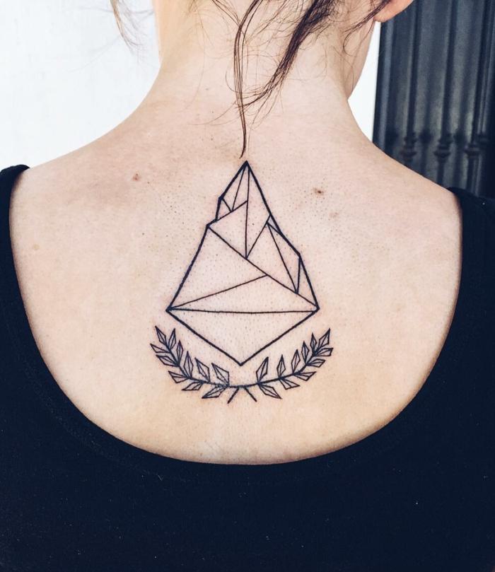 simbolo triangulo en la espalda, detalle geométrico en la espalda, hojas de laurel significado