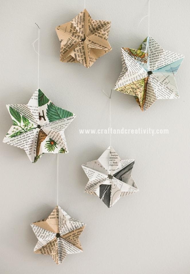 manualidades decoracion con papel periodico, guirnaldas decorativas detalles en forma de estrella