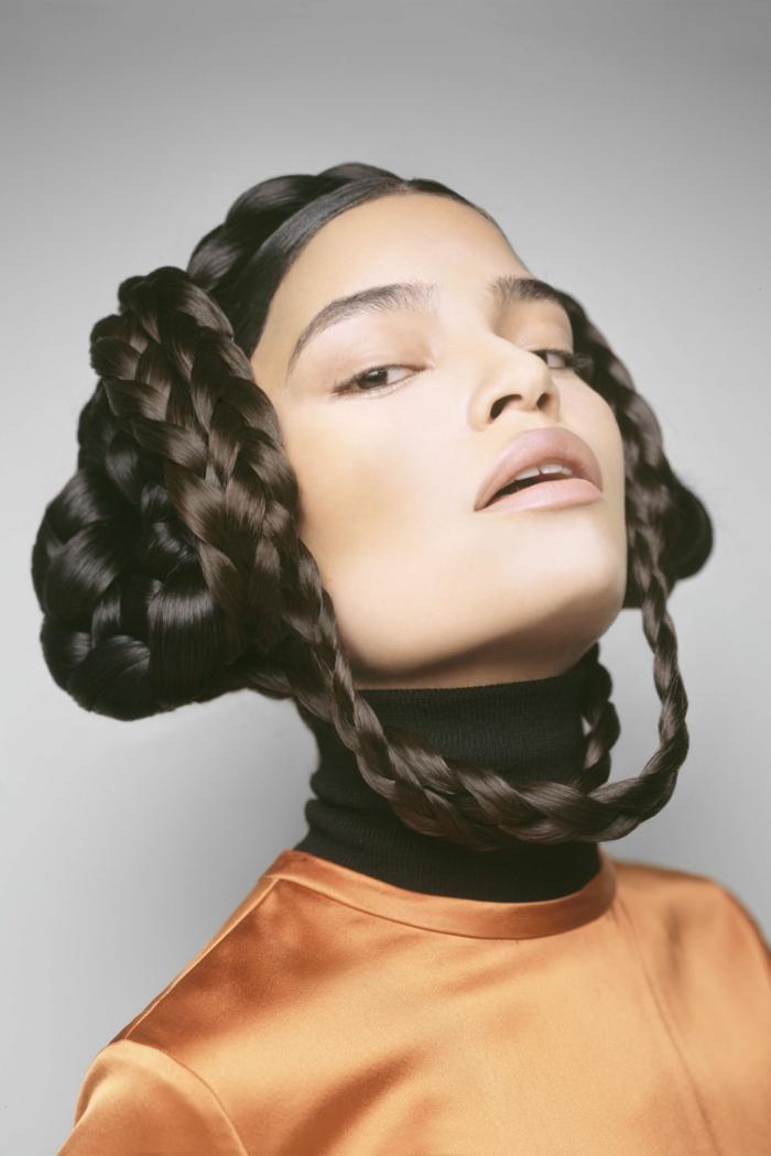 extravagante idea de peinado inspirado en Star wars, peinados bonitos originales con trenzas