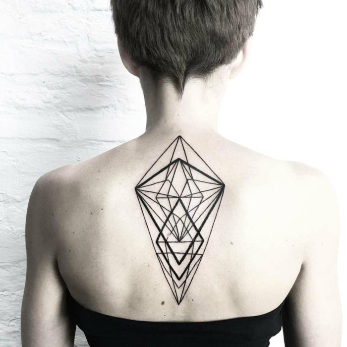 simbolo triangulo super originales, grande tatuaje en la espalda con muchas figuras geométricas