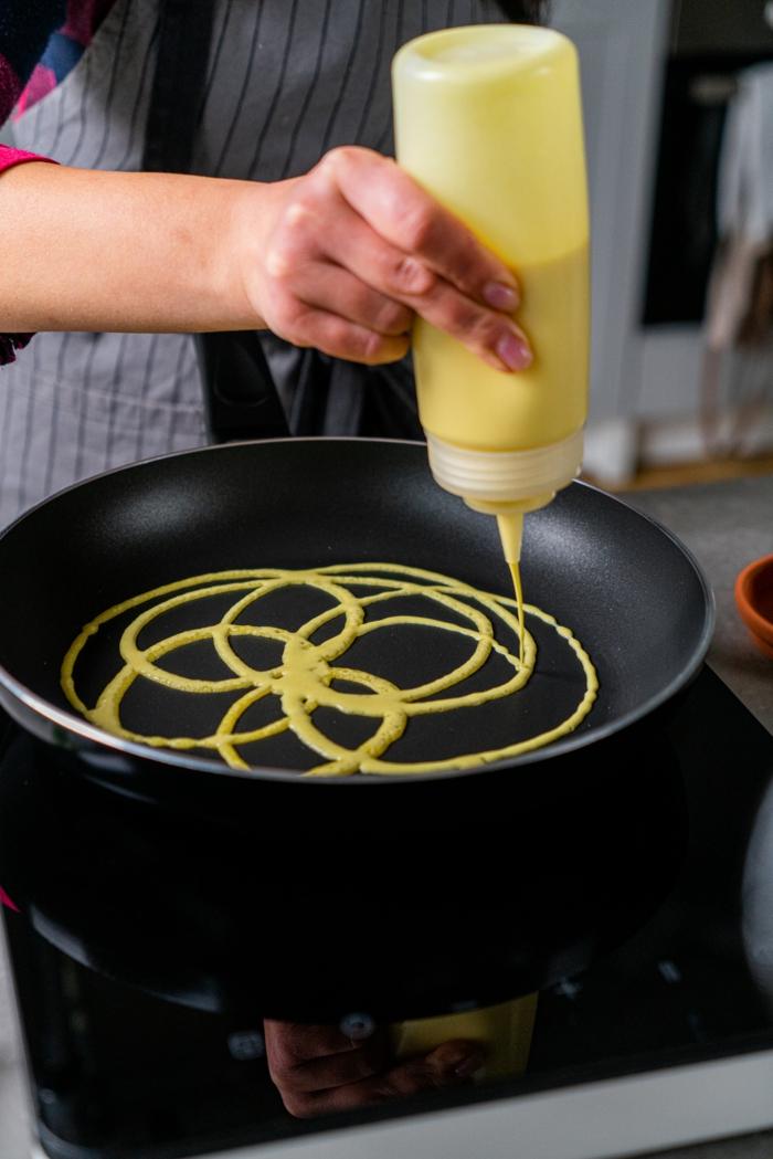 vertir la mezcla en una sarte de manera especial, crepes roti jala faciles de hacer en casa, desayunos saludables ricos