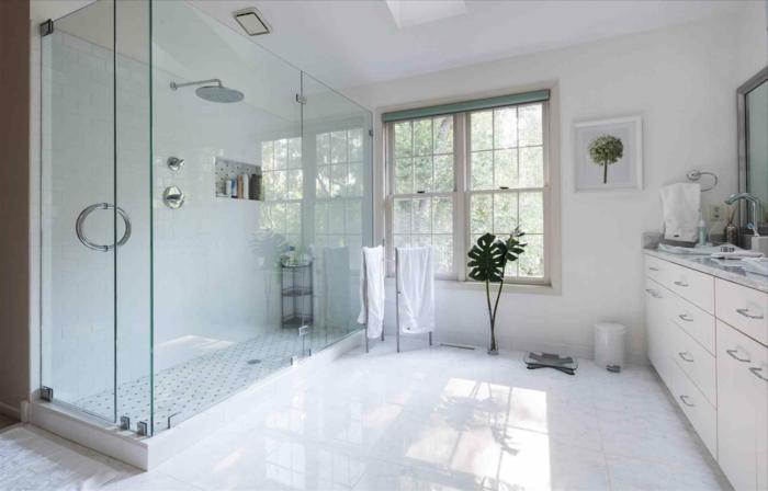 grane baño en blanco con decoración de plantas verdes, cabina con ducha y suelo de baldosas blancas, decoracion cuartos de baño