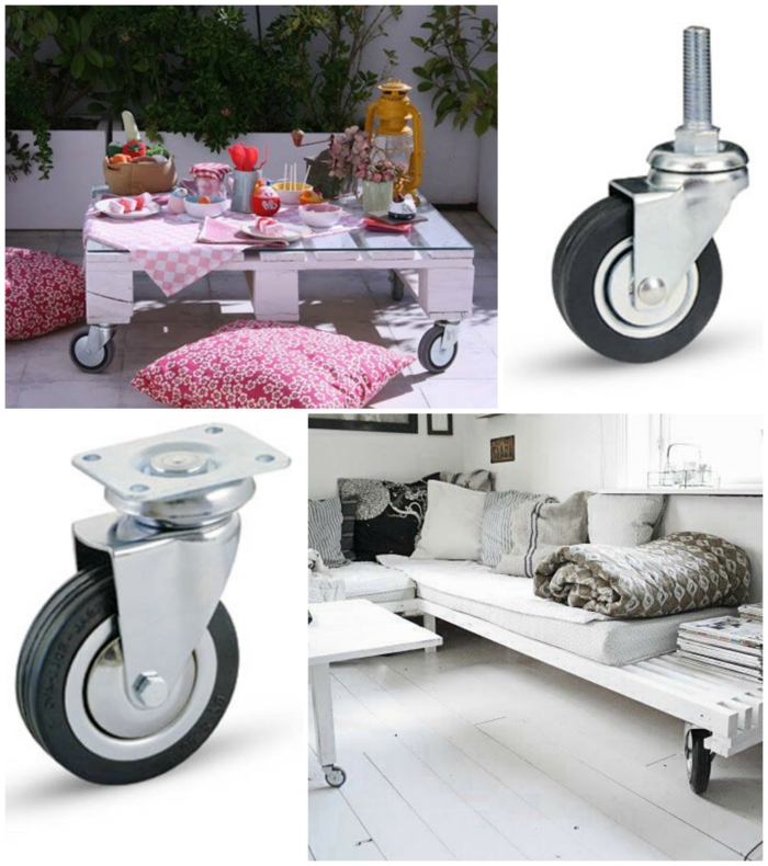 collage con fotos de mesa y sofá de palets y foto de las ruedas usadas, ideas de como hacer mesas de palets