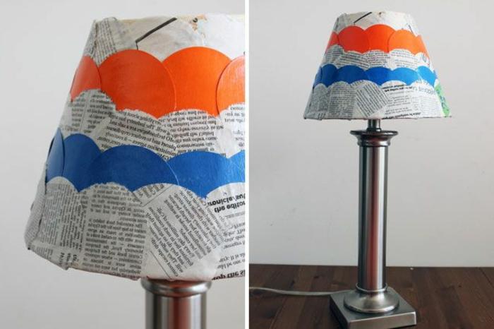 decoracion de lamparas con pepel periodico, manualidades con material reciclado paso a paso