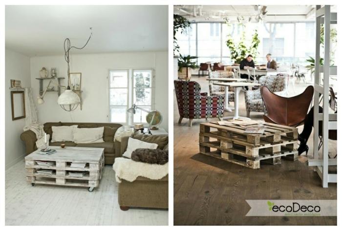 si quiere decorar tu casa económicamente, los palets son la mejor idea de hacerlo, dos fotos con estilo